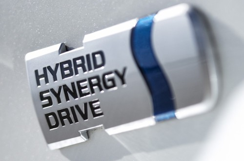 Toyota hybrid badge close-up