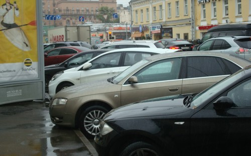 Moscow parked cars rain 2013