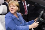 Angela Merkel behind the wheel VW
