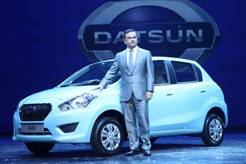 India Datsun Go launch with CEO Carlos Ghosn