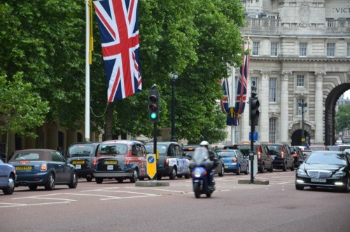 Union Flag London Traffic Mercedes S-Class