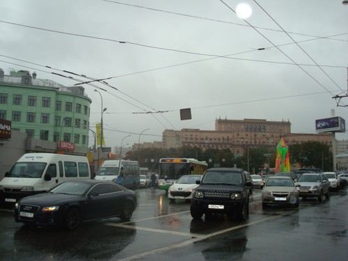 Rush hour traffic Moscow rain Russia