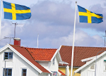 Sweden flag Volvo house