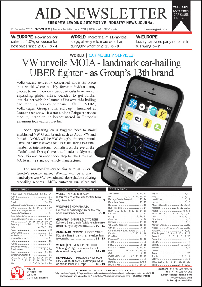 AID Newsletter 1623/24 Front page preview. Urban mobility future and car hailing